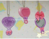 SALE CHOOSE ONE Cutie Bow Salon  Brush, Comb, or Mirror Plastic Toy Necklace for Fairy Kei Pop Kei Kawaii or Cute Style