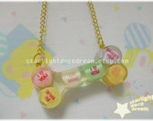 Conversation Love Hearts Big Bone Resin Choker for Fairy Kei, Kawaii, or Decora