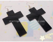 Large Shiny Black Laser Cut Cross Earrings for Cult Party Kei or Fairy Kei
