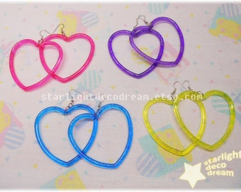 CHOOSE ONE PAIR Simple Heart Hoops for Fairy Kei Kawaii Decora