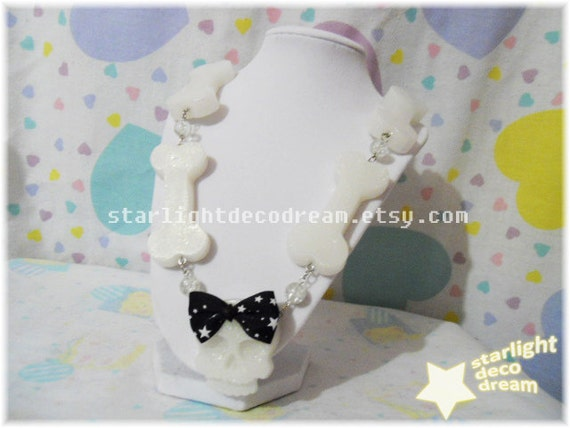 Fancy Skull & Big Bones Resin Necklace for Spooky Cute Kitsch Cult Party Kei or Fairy Kei