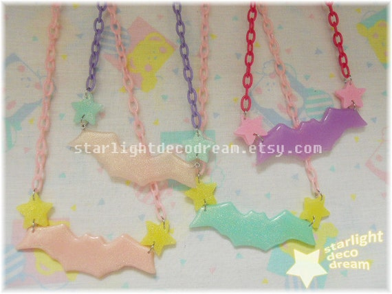 CHOOSE ONE Pastel Resin Starlight Bat with Plastic Chain Necklace  for Fairy Kei, Kawaii, or Decora