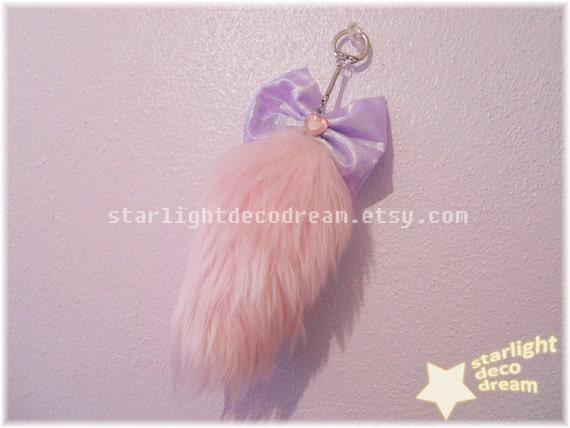 READY TO SHIP Pink Starlight Mini Fairy Fox Tail Keychain for Fairy Kei Kawaii Cute Decora Gyaru Fashion
