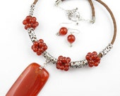 SET-Red Carnelian gemstone pendant,beads,Leather cord handmade jewelry necklace-Free shipping