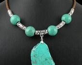 Big size Green Turquoise gemstone pendant,beads, genuine Italian Leather cord necklace