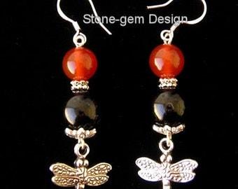 Handmade-red Carnelian,black Onyx beads ,dragonfly charm, Sterling silver hook  earrings