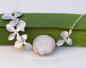 White Agate connector bezel set Sterling SIlver in Freshwater White Pearls and Siver Plated Orchid Flowers - Wedding Jewelry