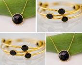 Set of 2 -Black Onyx Necklace and Bracelets Bangles - Gold Bridesmaid Jewelry - Bridal Jewelry