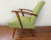 RESERVED for hstottbumsted-Mid Century Upholstered Rocking Chair - Vintage Sage Green Tweed