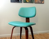 Vintage Bentwood Oak Thonet Upholstered Dining Chair Teal