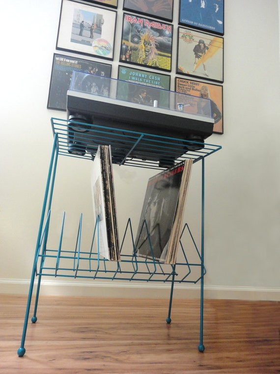 Retro Mid Century Teal Metal Wire Record Stand