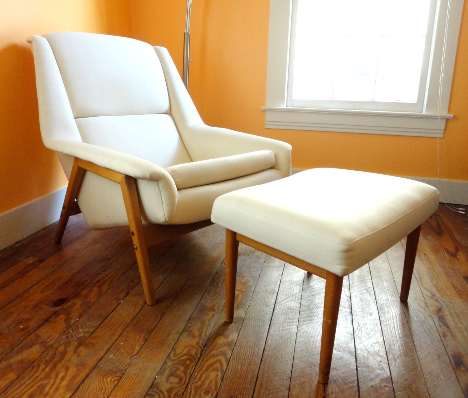 Danish Modern Arm Chair And Ottoman