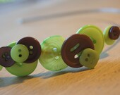 Lime and Brown on silver Headband SALE