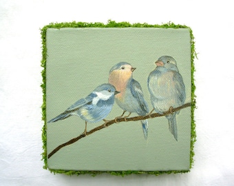 Original painting mixed media  Love birds in a green setting...