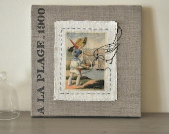 Linen canvas Old french card. 1900s Original mixed media retro. Summer trend
