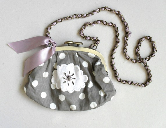 Wedding day. Summer fashion. Grey and white polka dot purse.