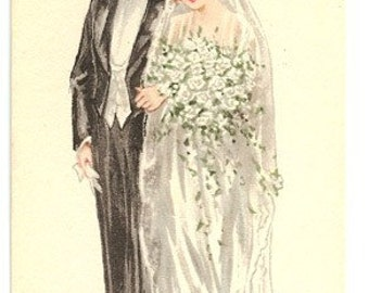 Beautiful Wedding Bridge Tally Card from the 1920s-1930s