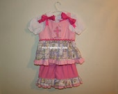 Pink Twirl Top with Cross /Double Ruffle Capris
