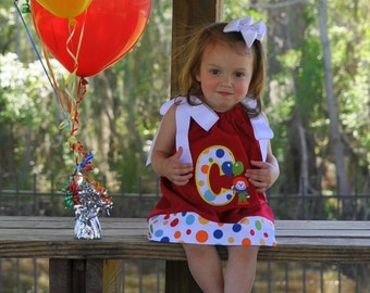 Circus Dot Clown Theme Birthday Dress with Applique Letter