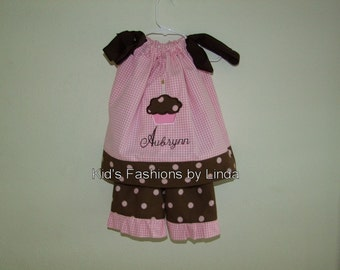 Personalized Pink Brown Cupcake Birthday Pillowcase Dress with Ruffled Pants