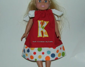American Doll Red/Dot Pillowcase Dress with Applique Letter