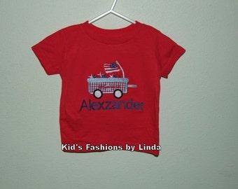 Personalized Patriotic Wagon Tshirt