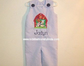 Lt Blue Seersucker Gingham Longalls with Birthday Barn Applique-Personalization EXTRA