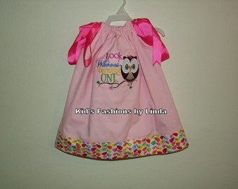 Pink Pillowcase Dress with Vine Cuff with Look Whoooo's Turning One-Personalization Optional
