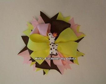 Giraffe Pink/Yellow/Brown Hairbow