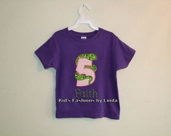 Girl Snake Birthday Tshirt-Personalization NOT included