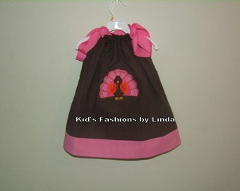 Brown/White  Dot Turkey Pillowcase Dress-Personalization NOT included