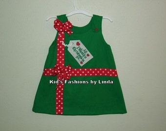 Christmas Present Green Aline Dress