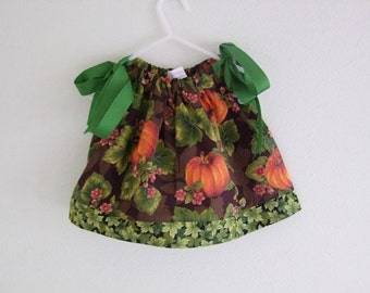 Autumn Pillowcase Dress with Pumpkins and Leaves