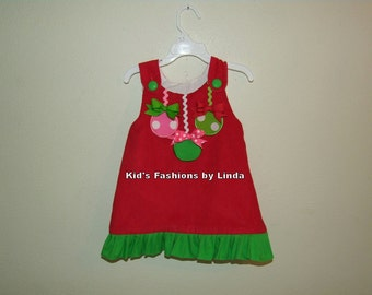 Red Corduroy /Green Ruffle Christmas Ornament Aline Dress