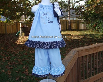 Let It Snow Blue Pillowcase Dress with Double Ruffled Pants