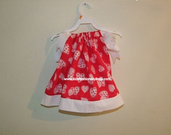Hearts Red/White Pillowcase Dress