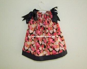 Valentine Hearts/Black Pillowcase Dress