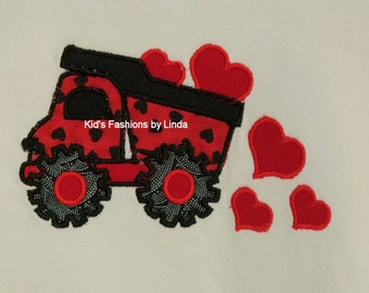 White Long Sleeve or Short Sleeve Tshirt with Valentine Heart Truck