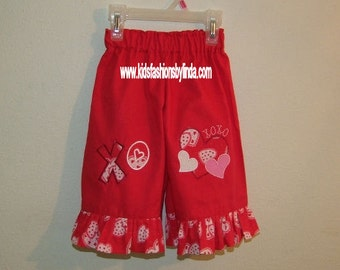 Red Valentine Embroidered Ruffle Pants