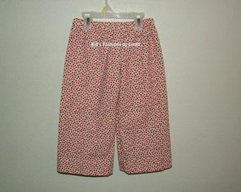 Cream Multi Color Dot  Flannel  Pants
