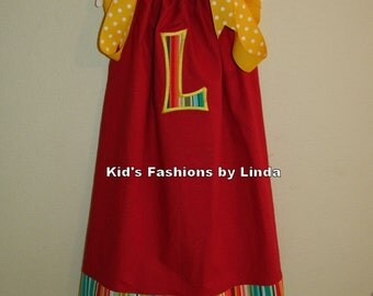 Striped Circus/Carnival Applique Letter Pillowcase Dress