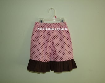 Pink Dots/Brown Ruffle Pants