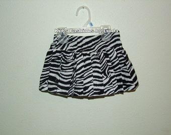 Zebra/Black  Pleated  Skort