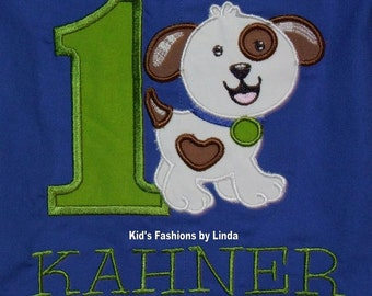 Personalized Birthday Applique Number/Dog  Royal Blue Shortall