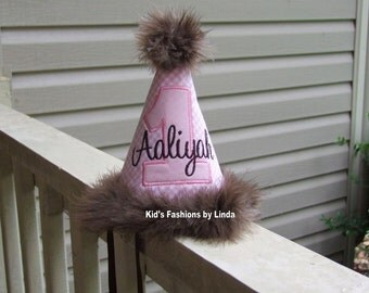 Personalized Pink Gingham/ Pink Applique Number Birthday Hat