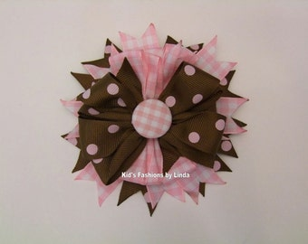 Pink Gingham/Brown Pink Dots  Hairbow