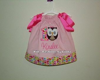 Personalized Pink Pillowcase Dress with Vine Cuff with  Vine 1 and Owl