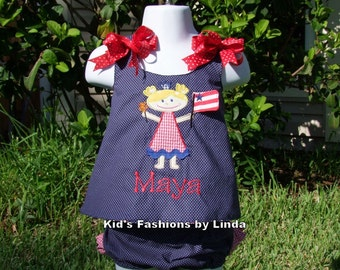 Personalized Reversible Navy Pin Dot 4th of July Girl / Red Gingham Seersucker  Monogrammed Pinafore with Ruffle Diaper Cover