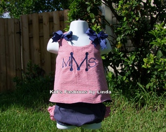 Personalized Reversible  Red Gingham Seersucker  Monogrammed /Navy Pin Dot 4th of July Girl Pinafore with Ruffle Diaper Cover