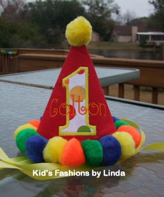 Personalized Circus Pom Pom Birthday Hat